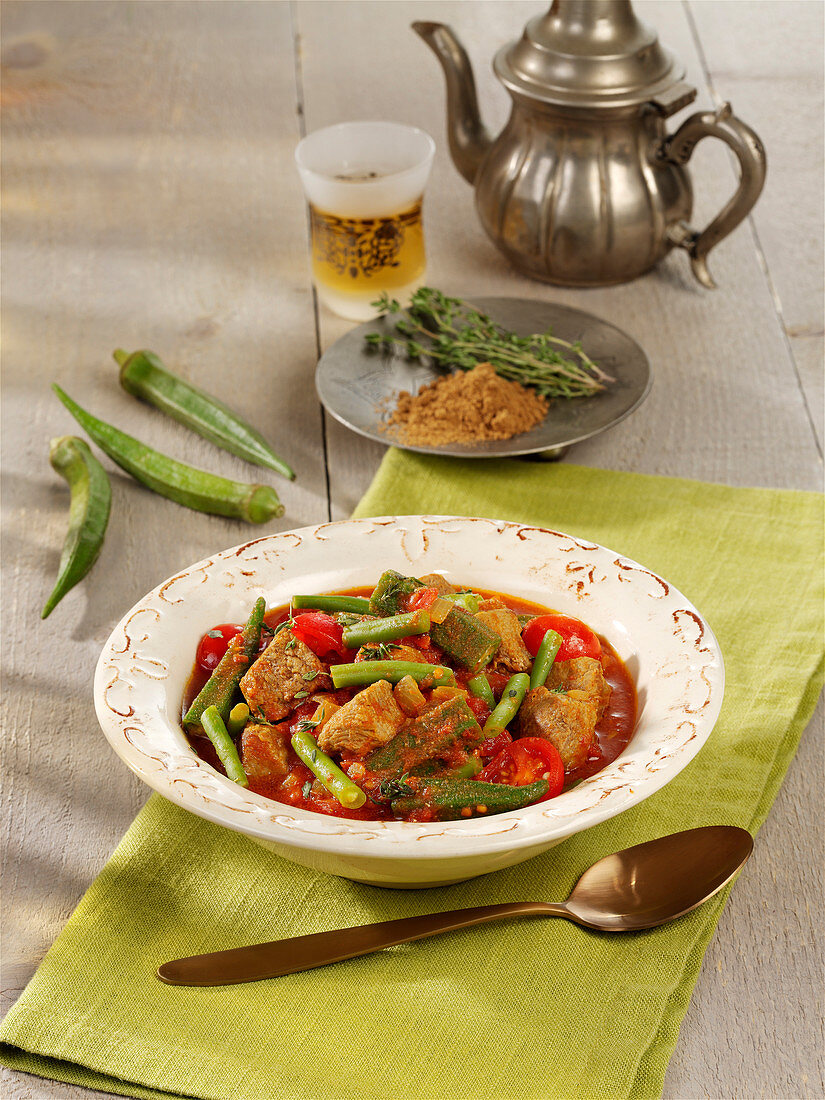 Moroccan lamb stew with okra pods