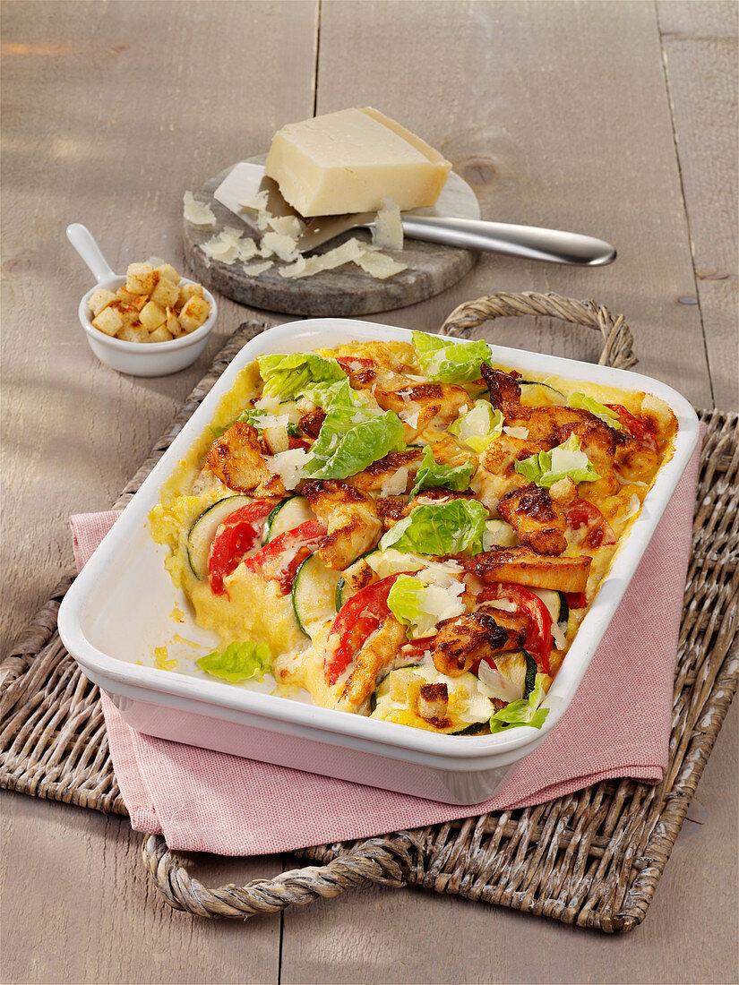 Caesar salad gratin with chicken
