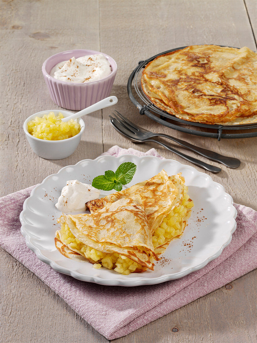 Crepes with apple filling
