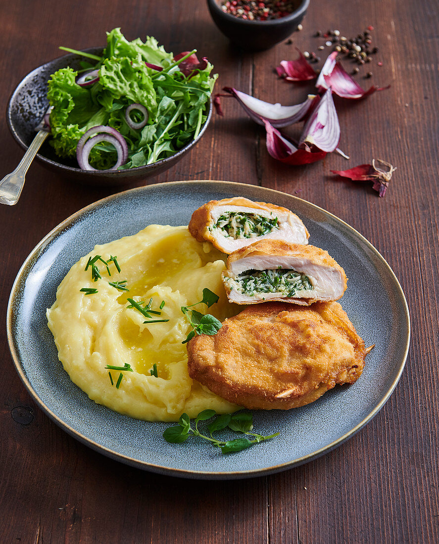 Pork schnitzel with horseradish filling
