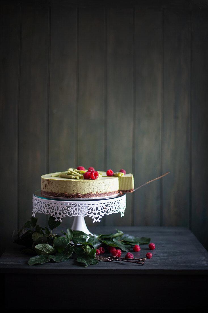 Green matcha tea cheesecake