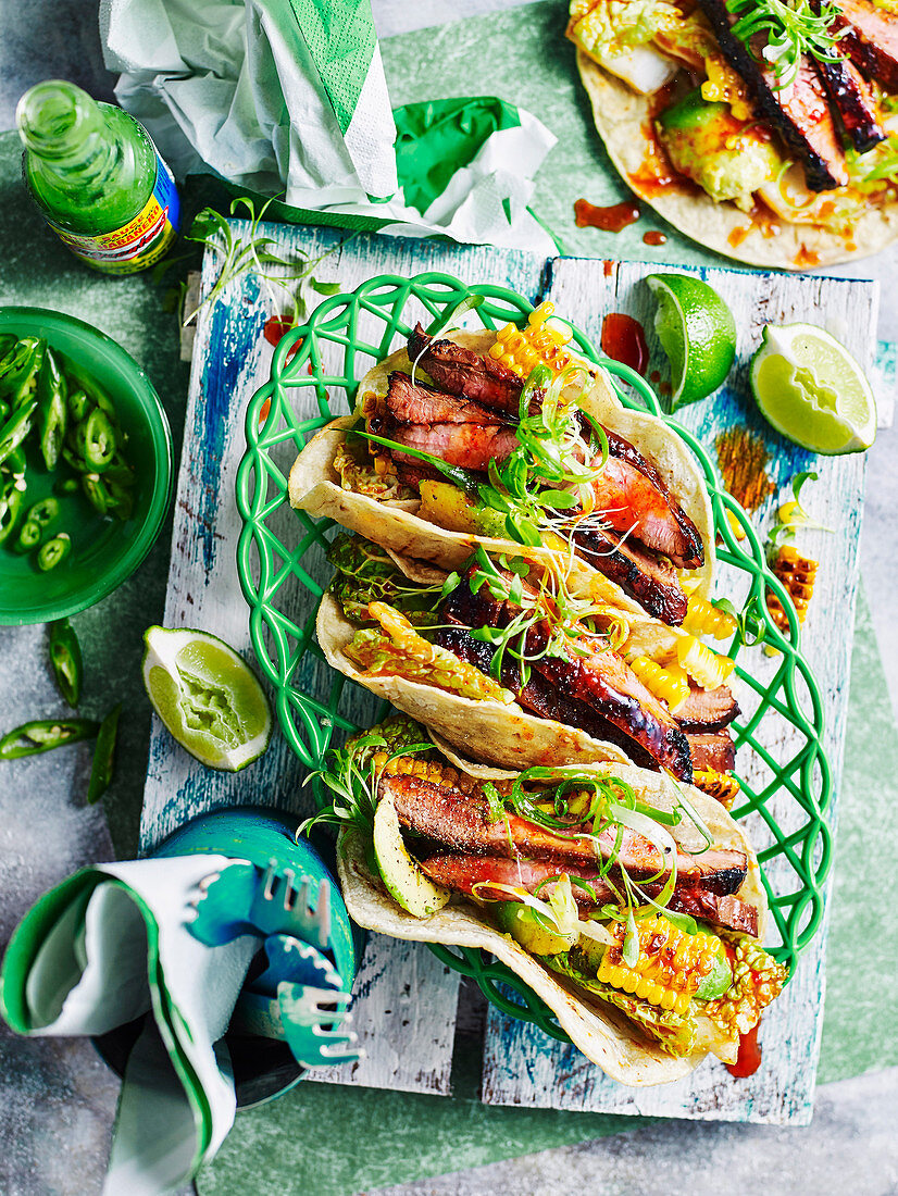 Korean beef and corn soft tacos