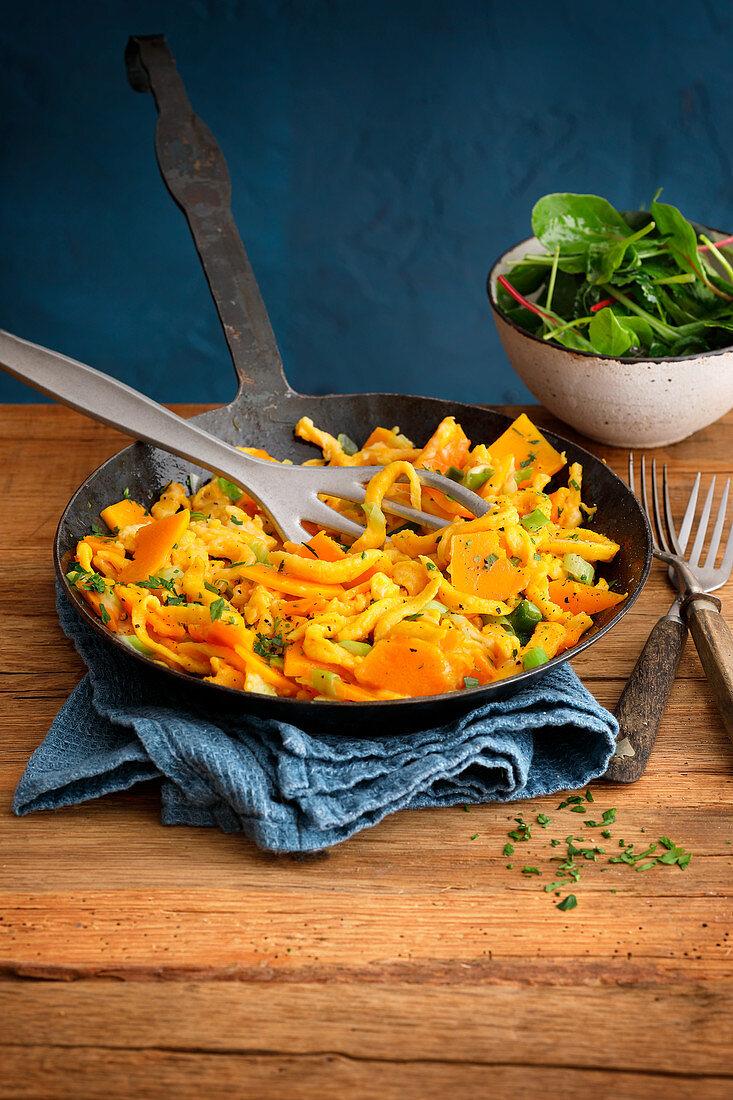 Cheese and pumpkin spaetzle