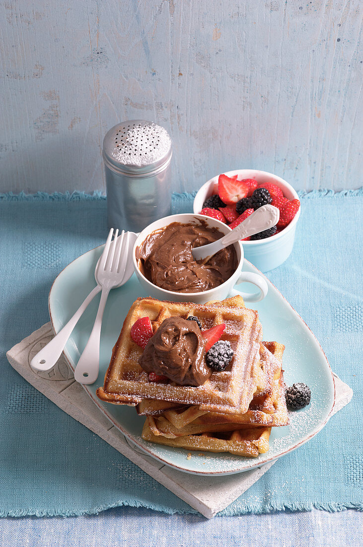 Buckwheat waffles with avocado and chocolate cream