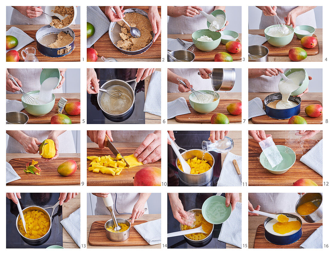 Preparing unbaked cheesecake with mango jelly