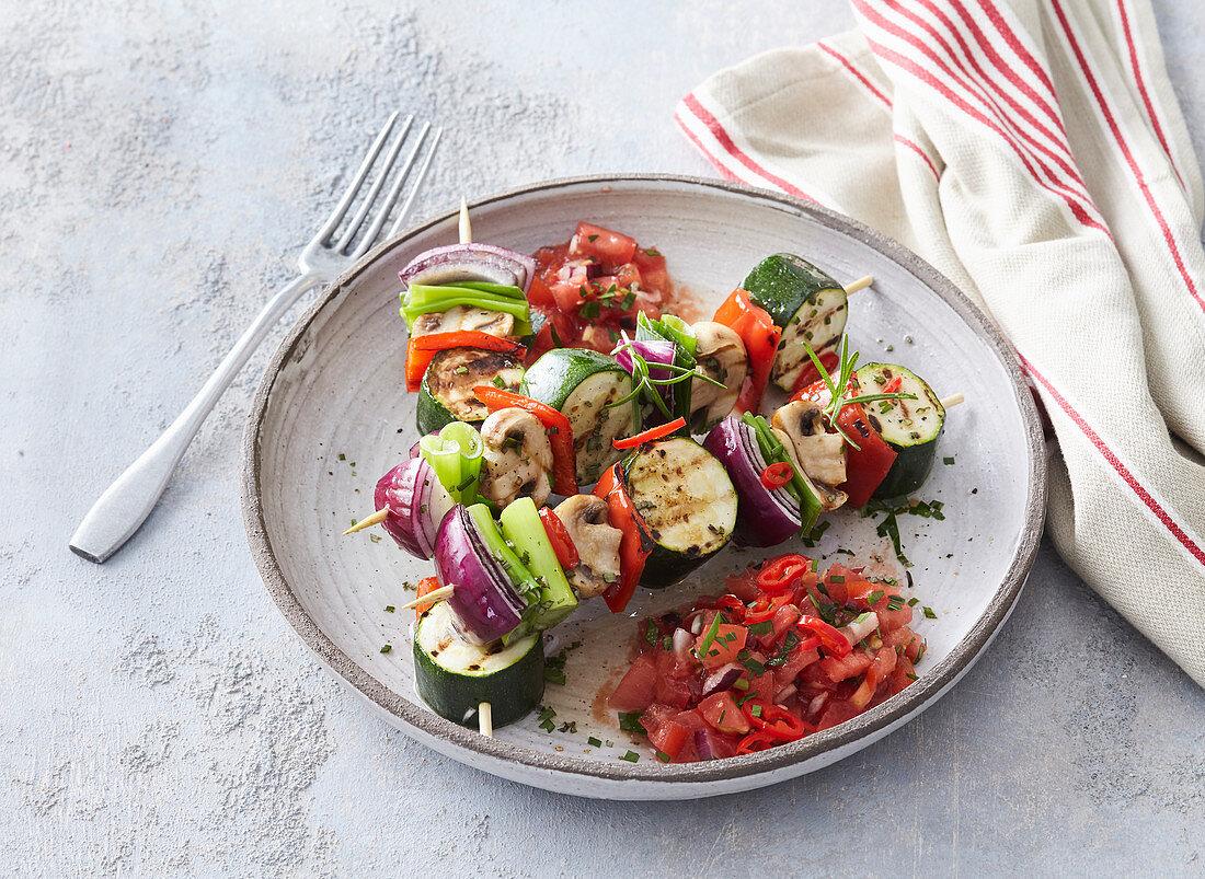 Vegetarian shashlik with tomato salsa