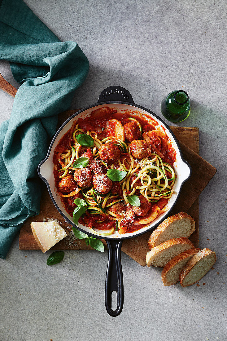 Zoodles and meatballs with spicy fennel tomato sauce