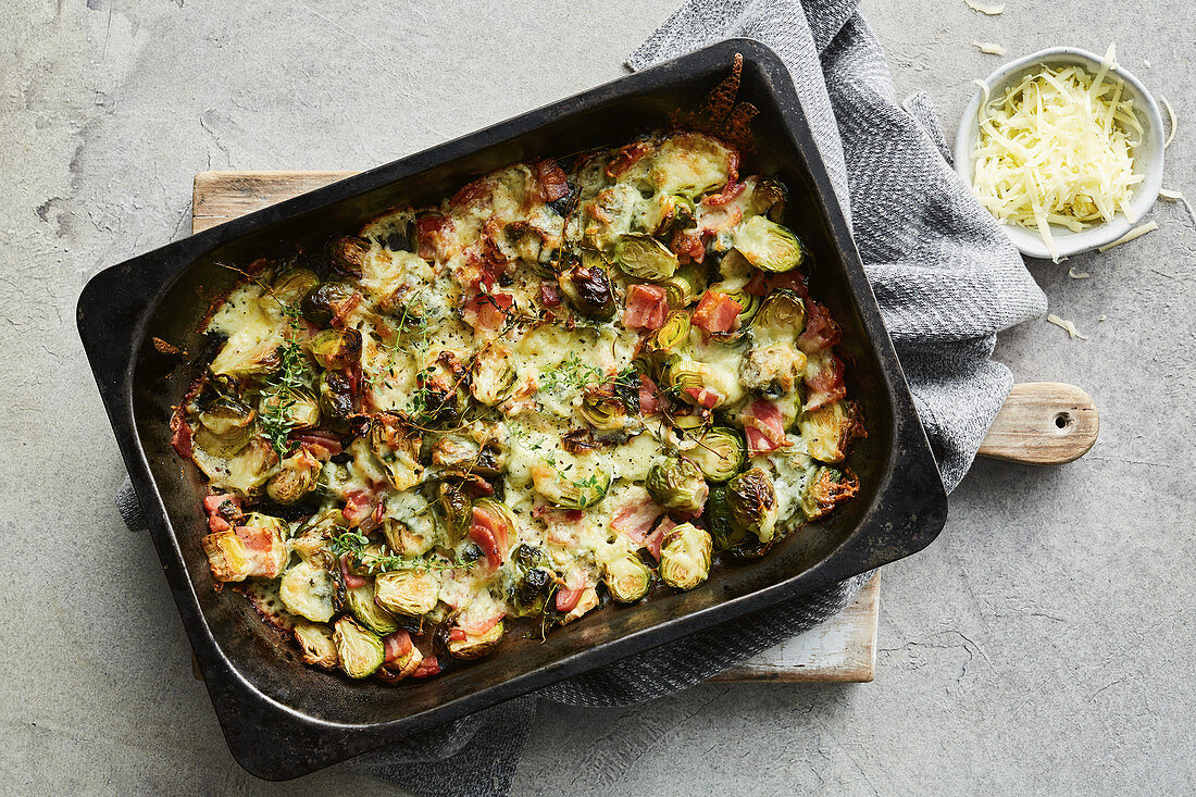 Crispy bacon and cheese brussels sprouts