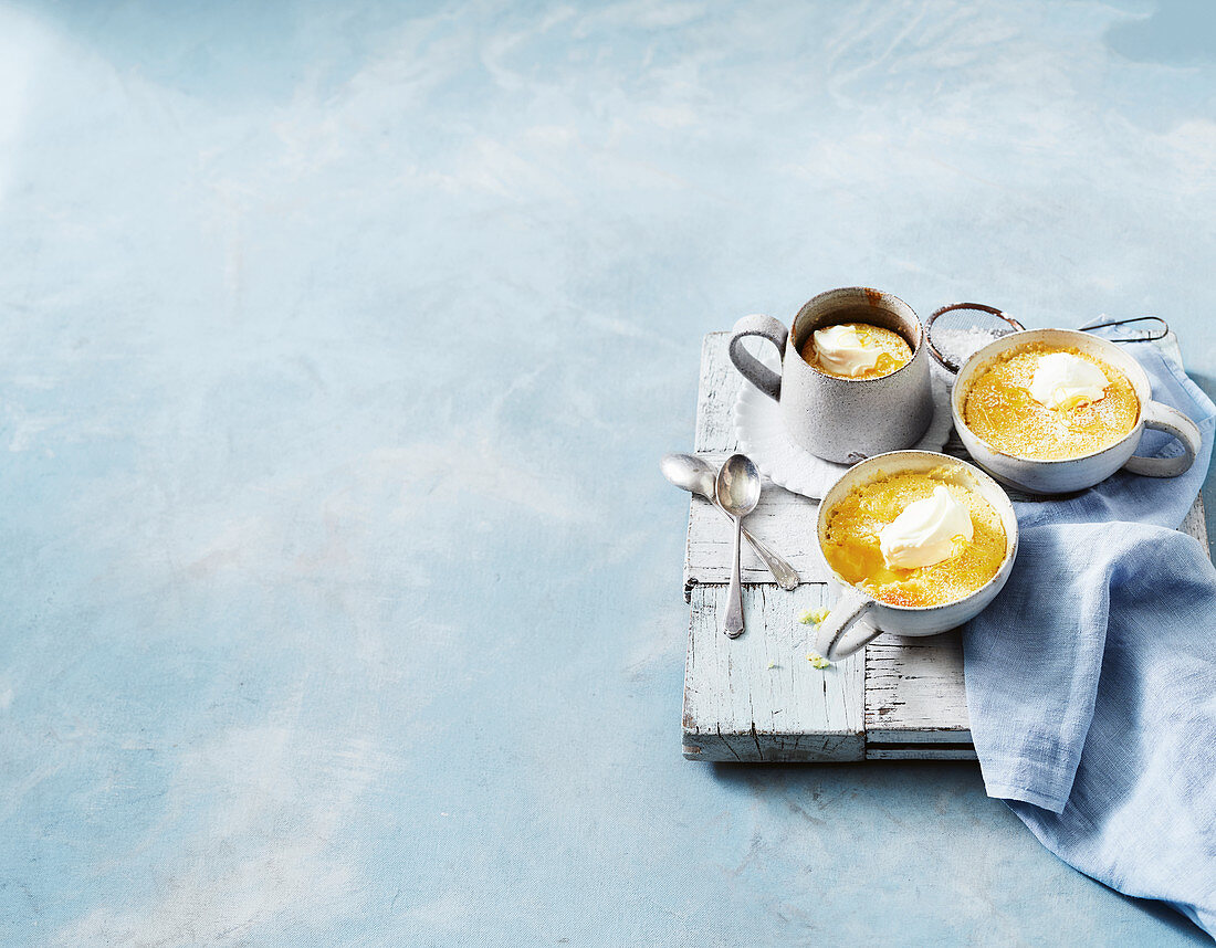 Lemon delicious mascarpone puddings