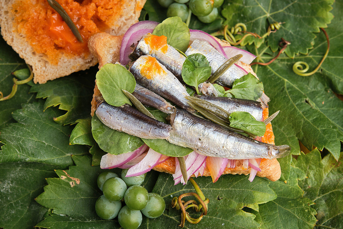 Traditional harvest sandwich half opened with sardines, meat and different vegetables on top of a grapevine leaf
