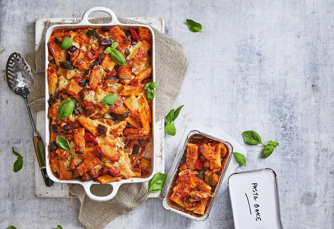 Chicken and ratatouille pasta bake