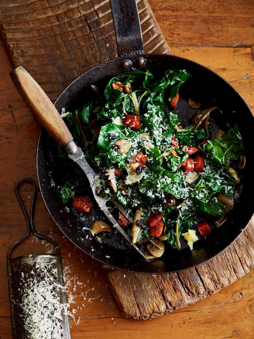 Silverbeet with pepperoni