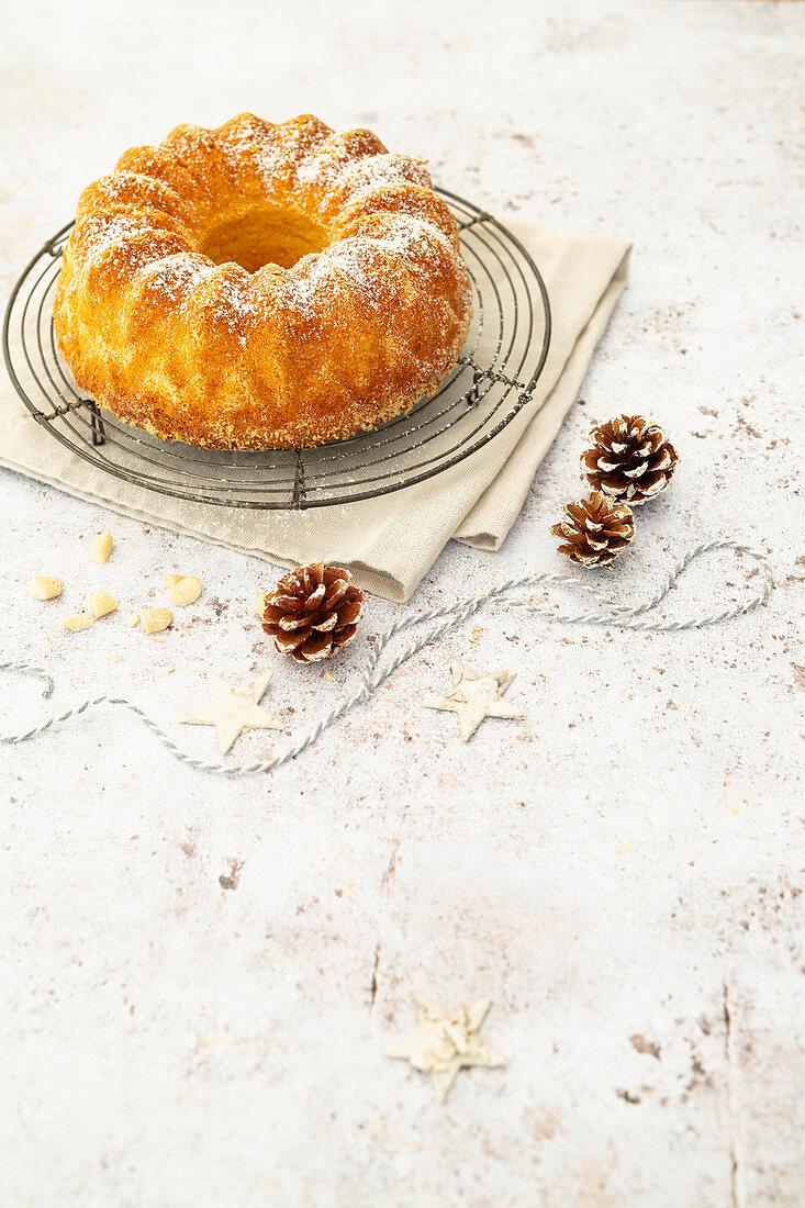Christmas almond Guglhupf with powdered sugar