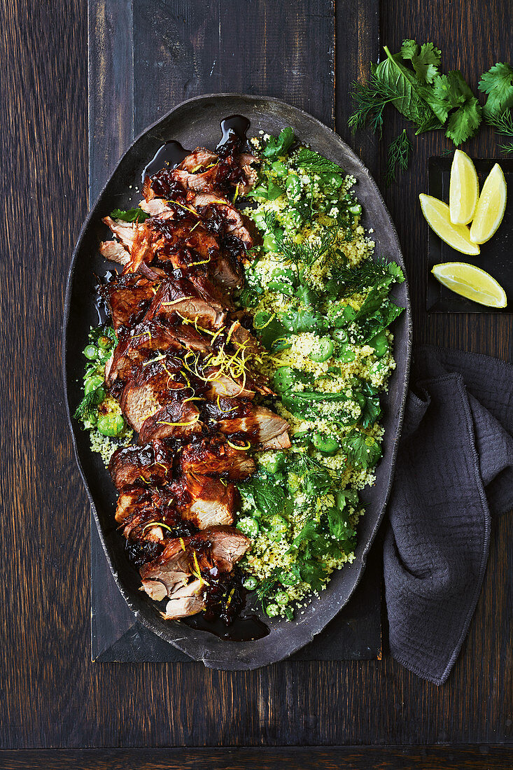 Slow-cooker ginger marmalade pork with broad bean couscous