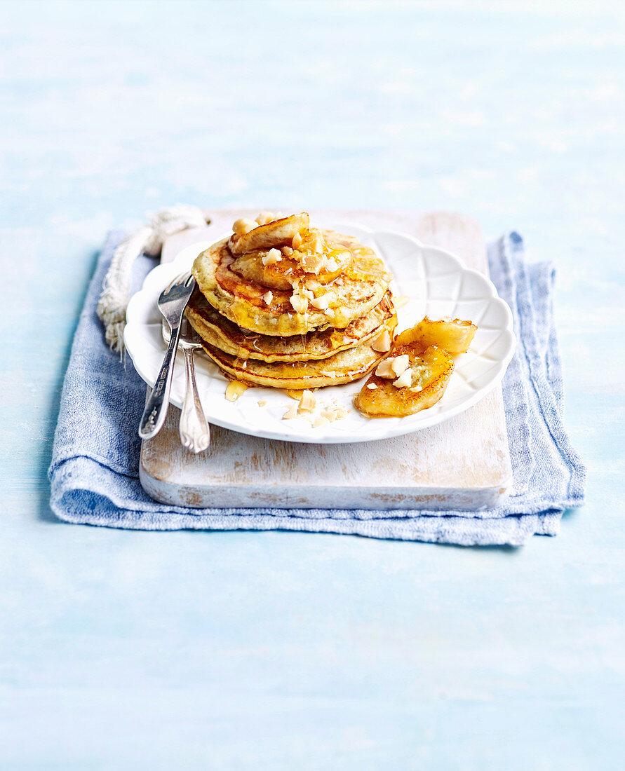 Banana, honey and macadamia pancakes