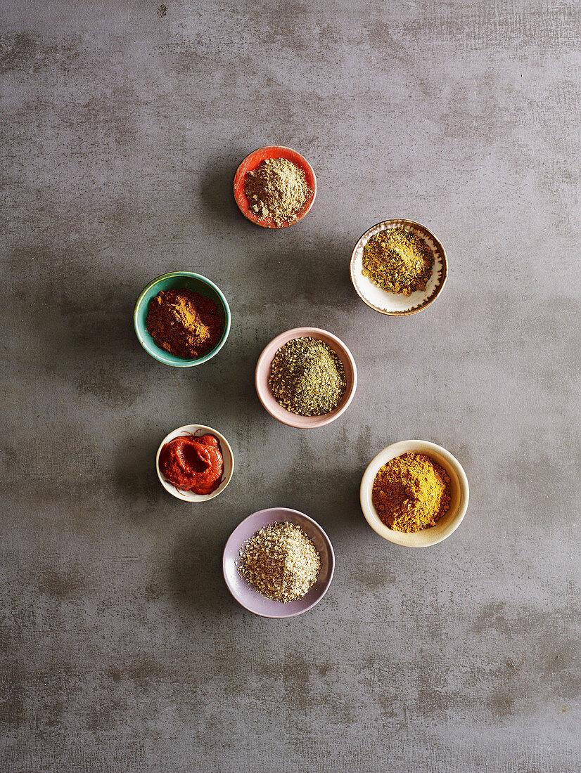 Spice blends - Baharat, Chermoula, Dukkah, Garam masala, Harissa, Ras el hanout and Za'atar