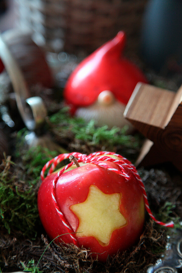 Apple with a star carved out of the skin