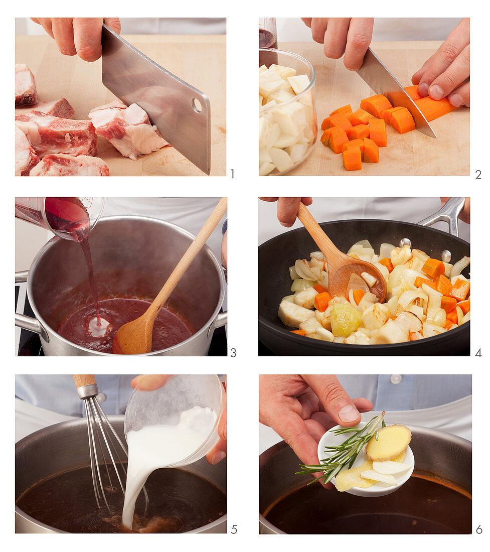 Preparing brown sauce