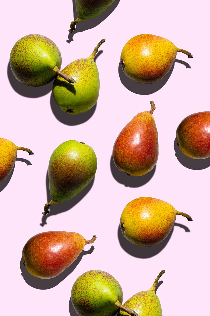 Different pears on a pink background