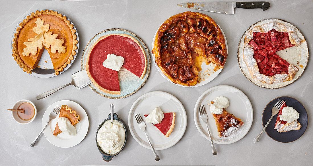 Pumpkin pie, cranberry pie, tarte tatin and rhubarb galette