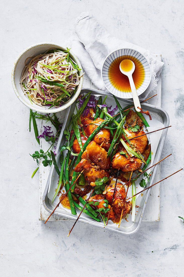 Chicken yakitori skewers with soba noodle salad