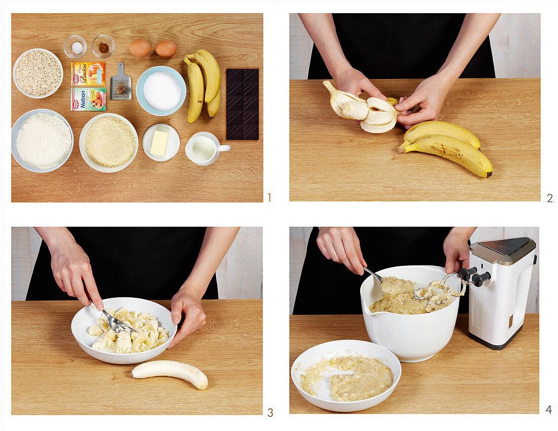 Preparing banana bread
