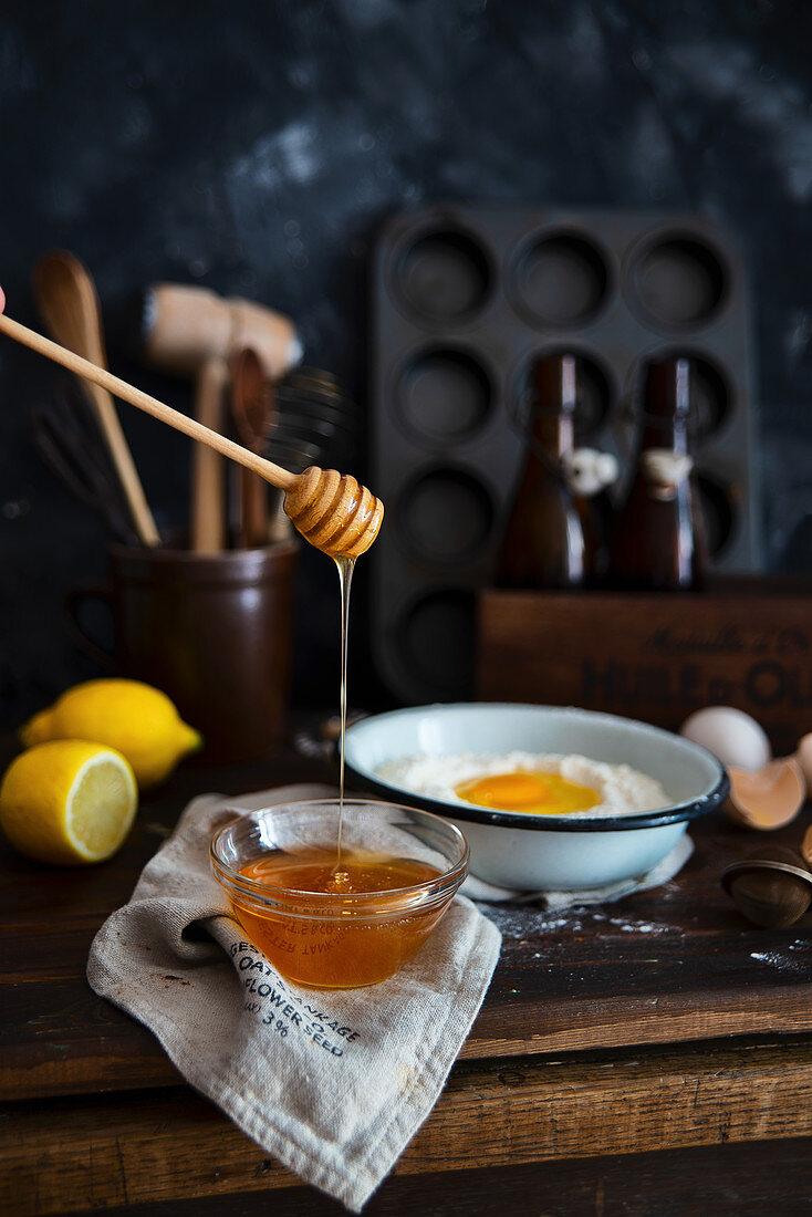 Baking set with honey, eggs, lemon and flour