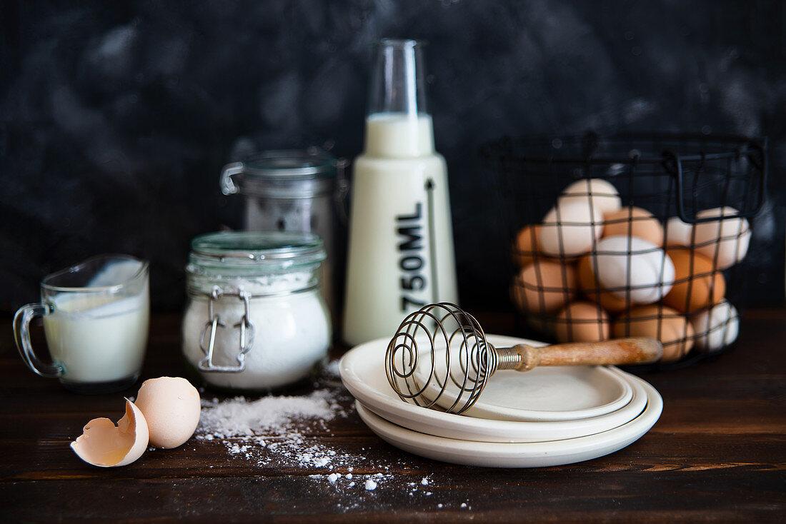 Preparation for baking cream milk flour eggs sugar