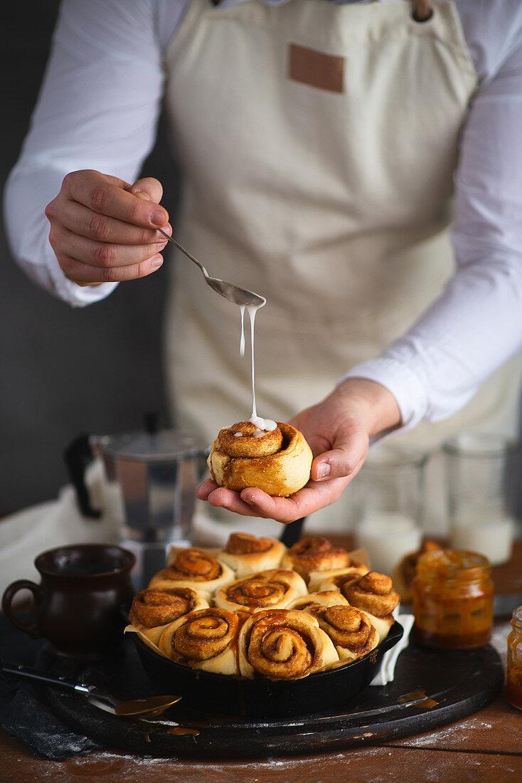 Cinnamon rolls with icing