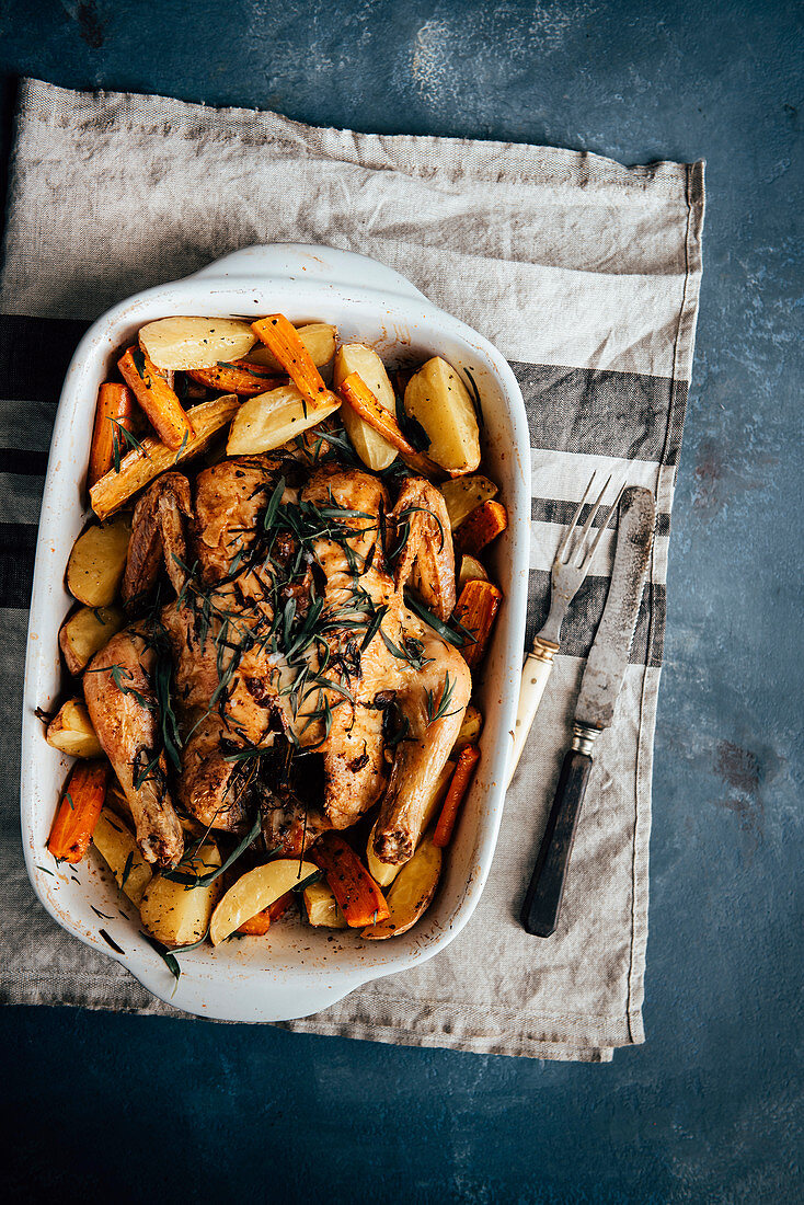 Roasted taragon garlic chicken