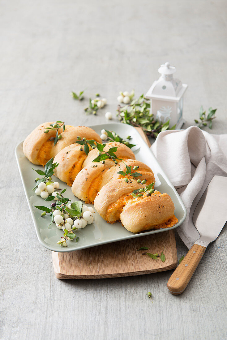 Yeast bread with cheese filling for Christmas