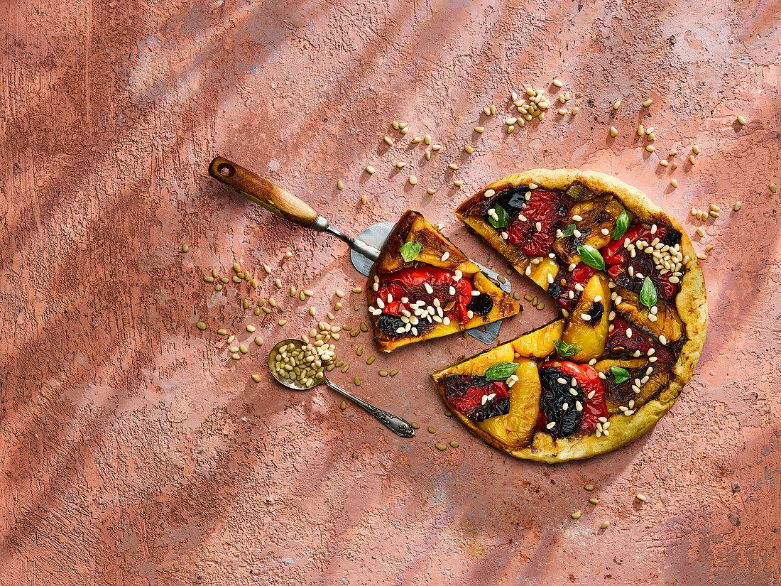 Red and yellow pepper Tarte Tatin