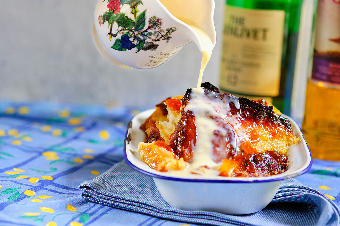 Whisky marmalade bread butter pudding