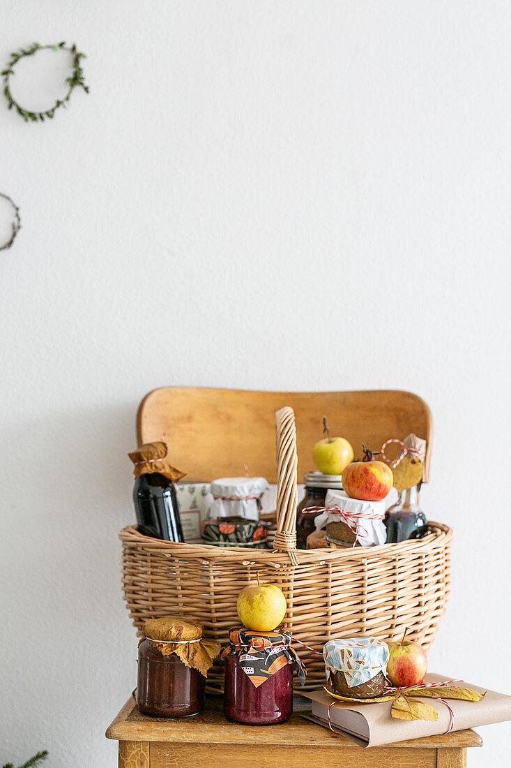 Basket of preserving jars and apples