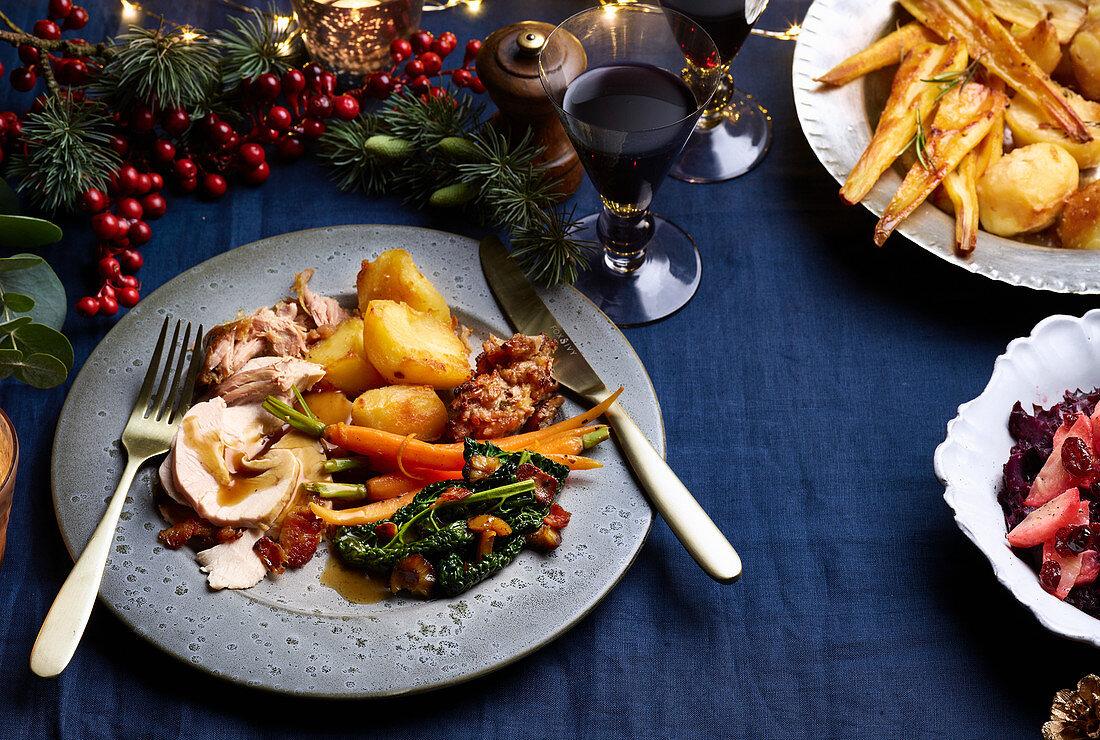 Christmas maple-glazed turkey with confit duck legs