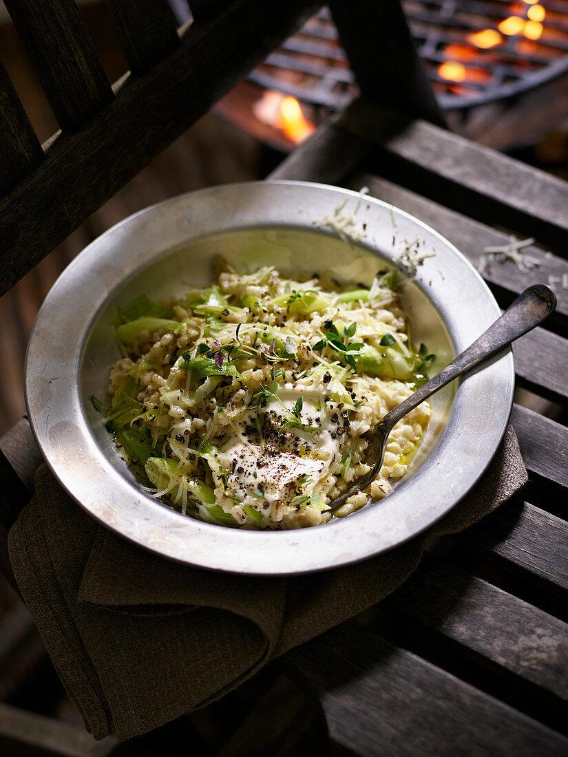 Barley risotto with leek and Parmesan