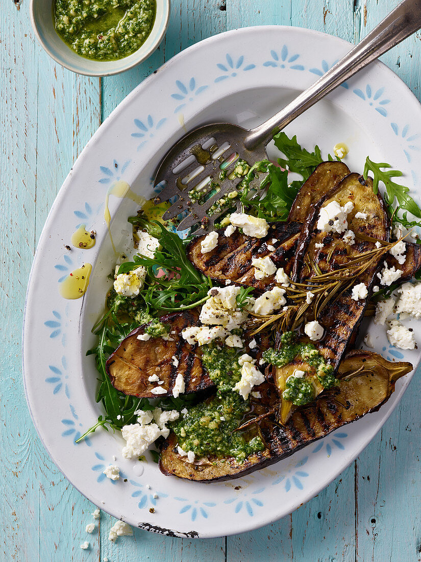 Grilled aubergine steaks with feta and rocket pesto