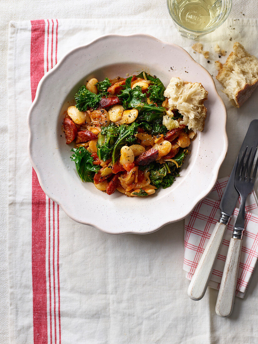 Spanish kale, chorizo and butter bean stew