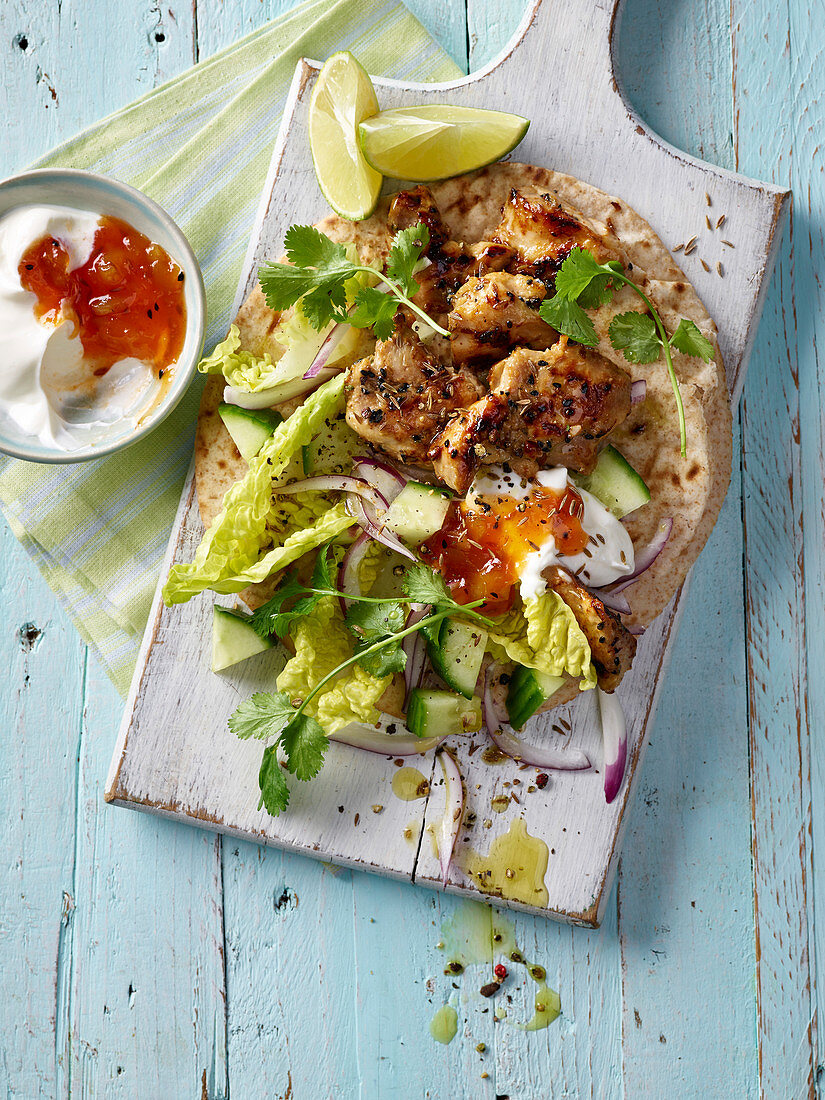 Indian chicken mango chapatti wraps and salad