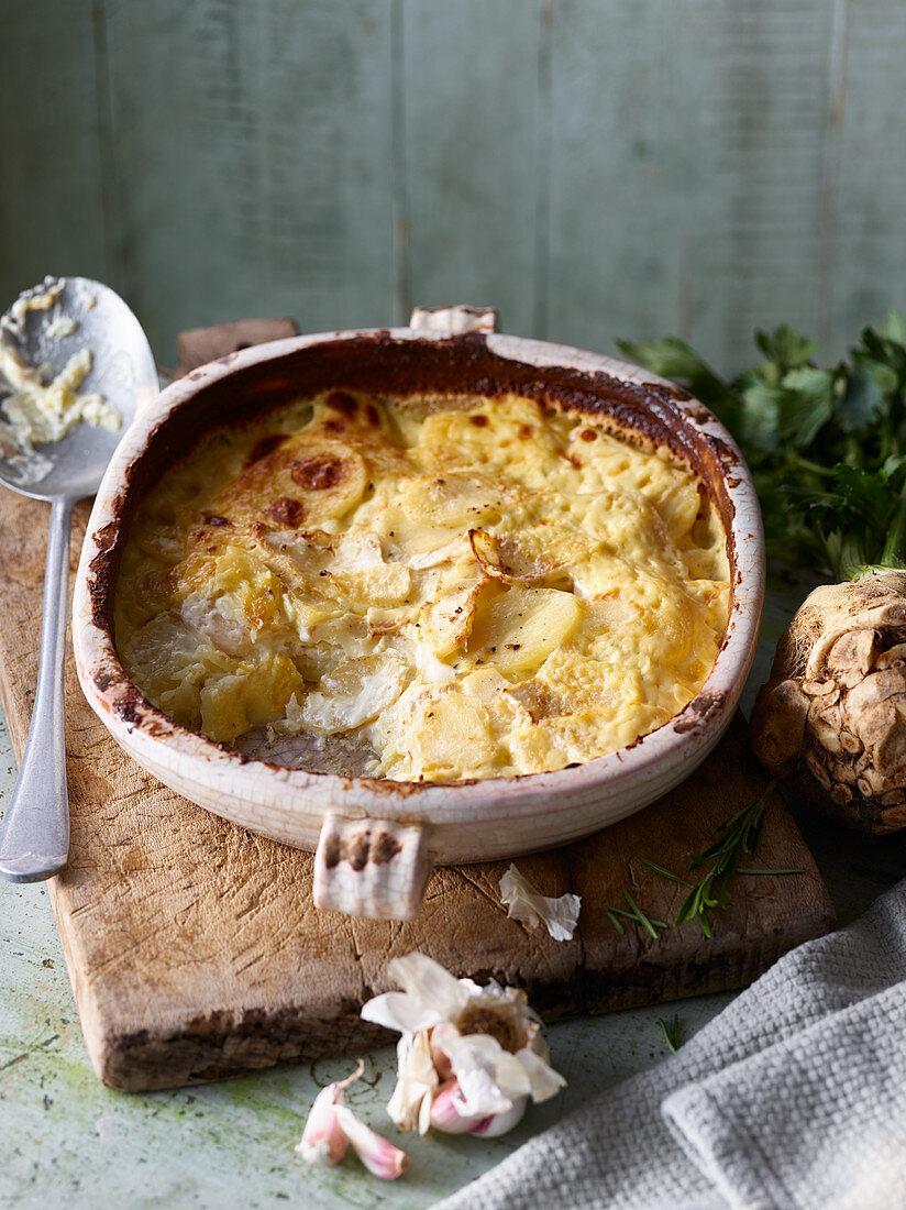 Celeriac potato and fennel gratin