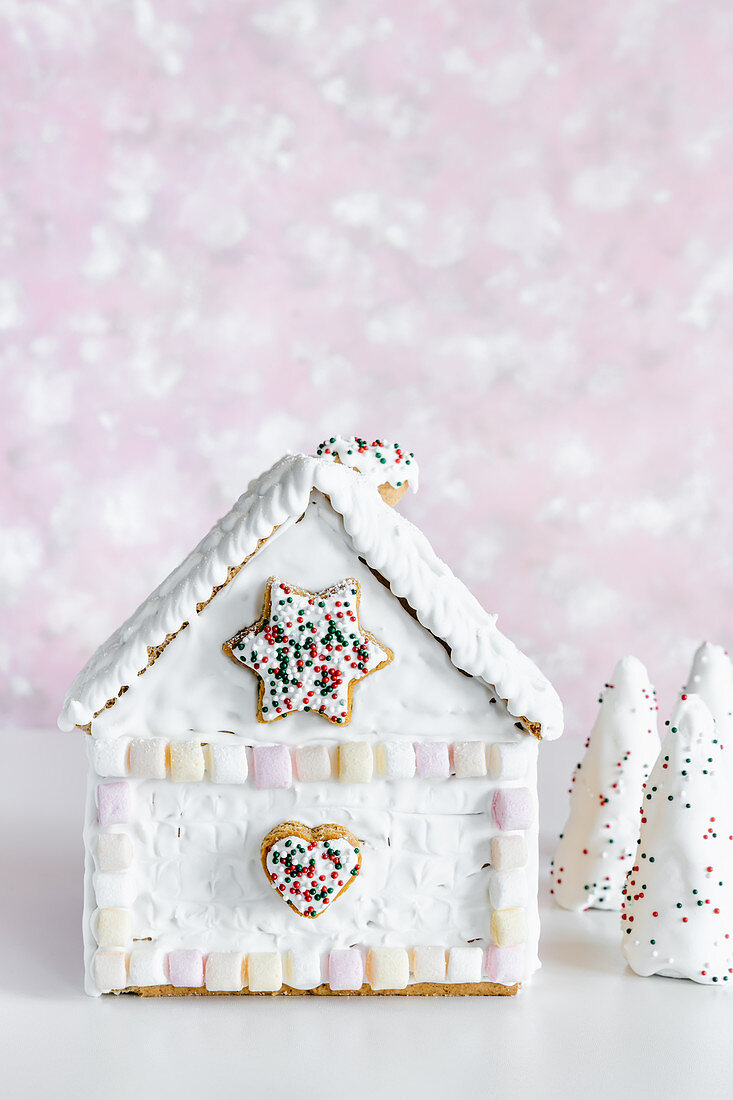Christmas gingerbread house decorated with marshmallows and royal icing