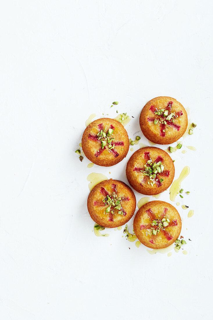 Mini rhubarb cakes with orange syrup