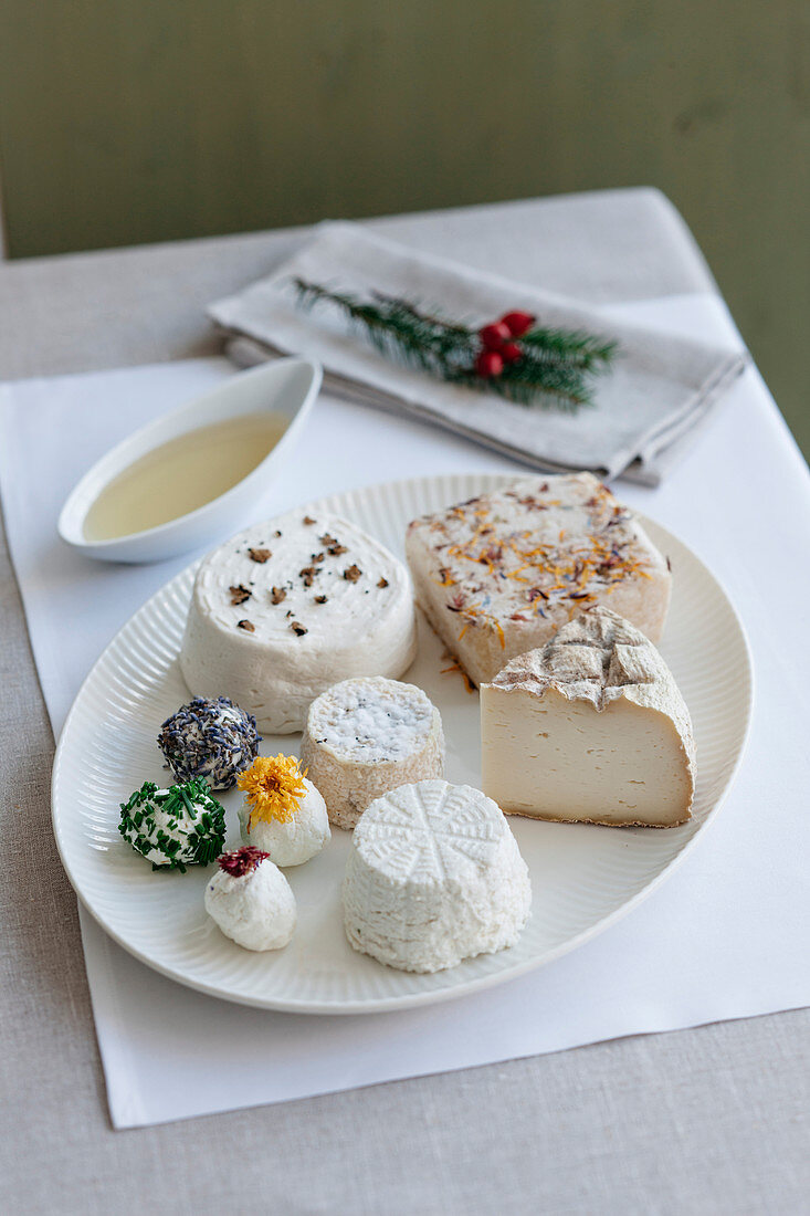 Goat's cheese platter featuring hard, soft and cream cheese