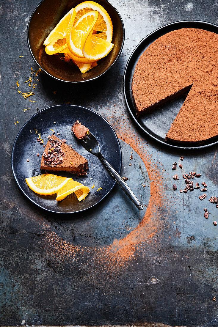 Vegan orange and chocolate cream cake