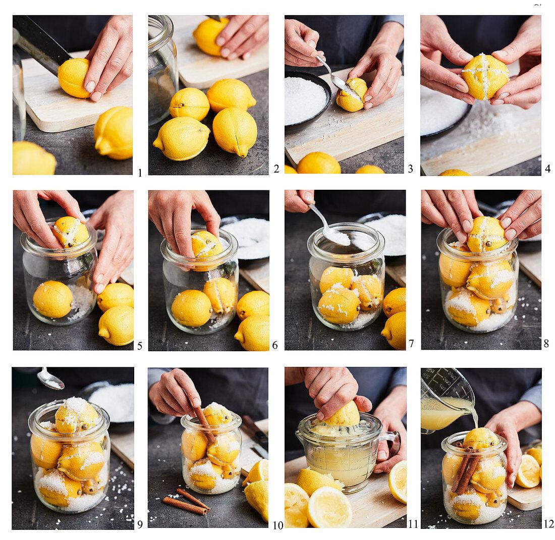 Preparing pickled salt lemons with cinnamon