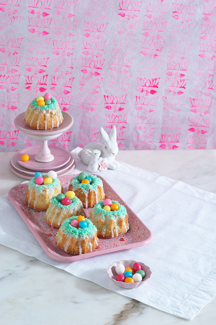 Coconut and lime nests with sugared eggs