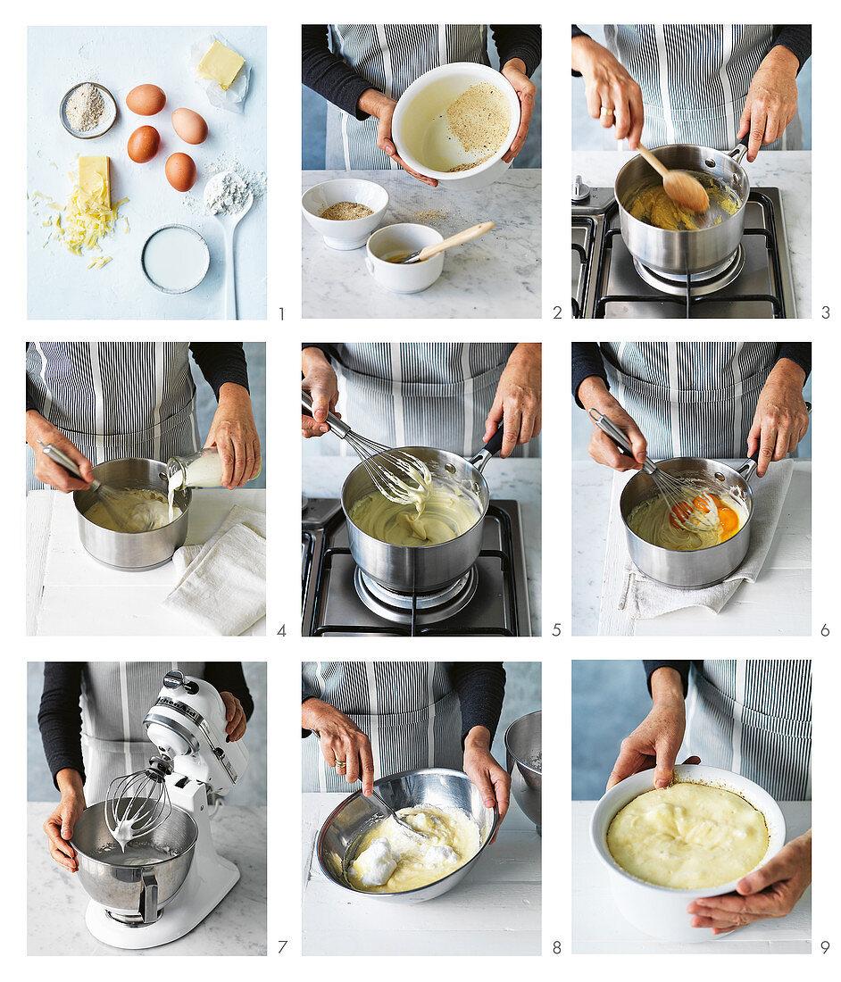 Preparing classic cheese soufflé