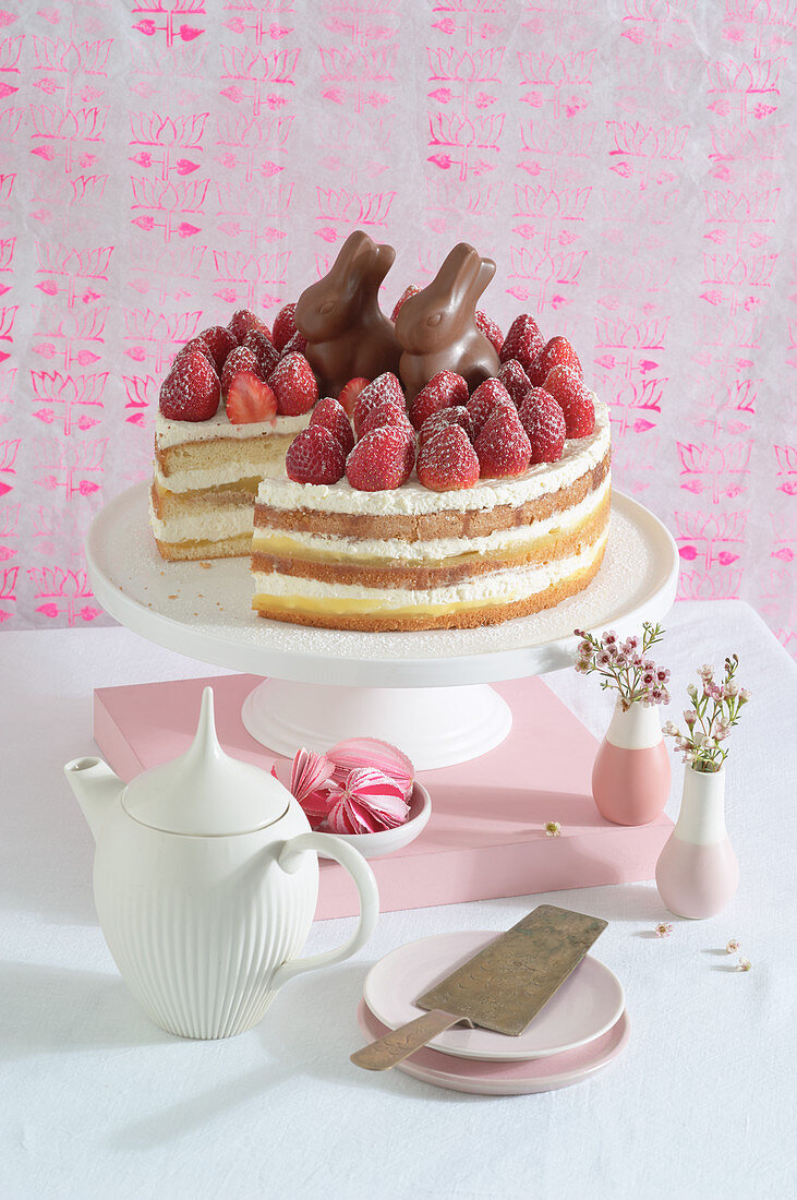 Chocolate bunny cake with strawberries