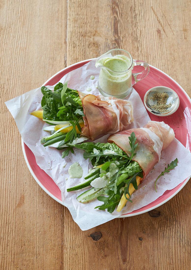 Ham rolls with lettuce and mozzarella