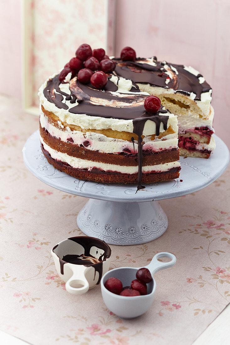 Cherry cream yoghurt naked cake